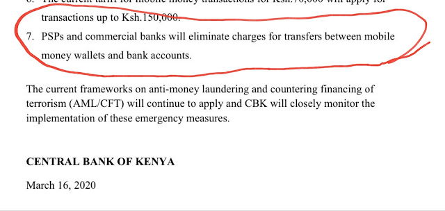 CBK Press release on mobile money changes
