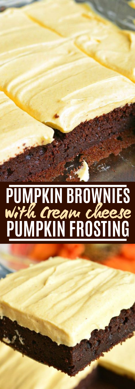Frosted Pumpkin Brownies #desserts #cake
