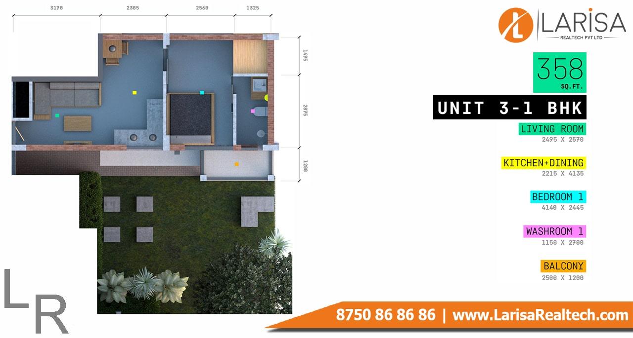 Trisara Our Homes 3  1BHK Floor Plan