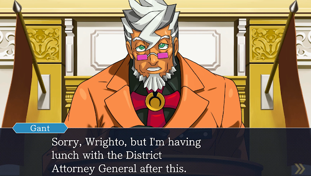 Phoenix Wright Ace Attorney Damon Gant having lunch with District Attorney General