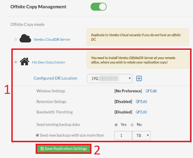 Vembu BDR: Novedades Suite v3.8.0 GA. Vembu OffsiteDR Seed