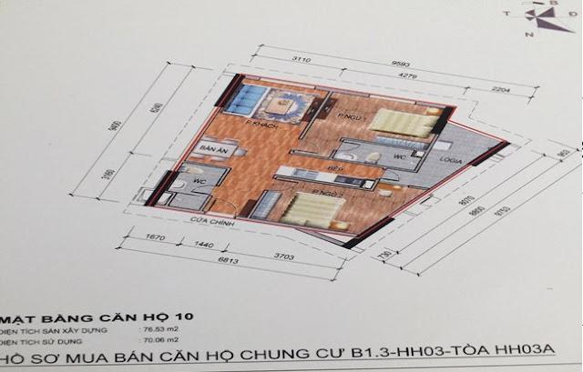 Sơ đồ thiết kế căn hộ 10 chung cư B1.3 HH03A Thanh Hà Cienco 5