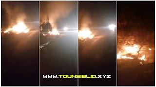 ( بالفيديو )حريق ضخم الان على مستوى طريق الحمامات تونس بالاشجار الزيتون....