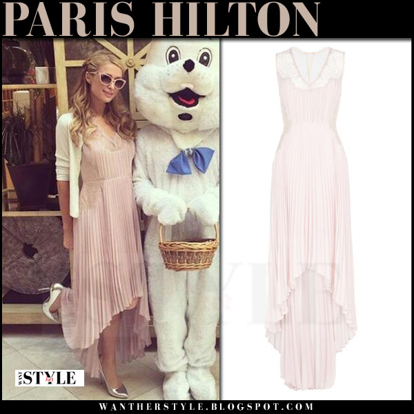 Paris Hilton in light pink pleated bcbg maxi dress and silver charlotte olympia monroe pumps what she wore