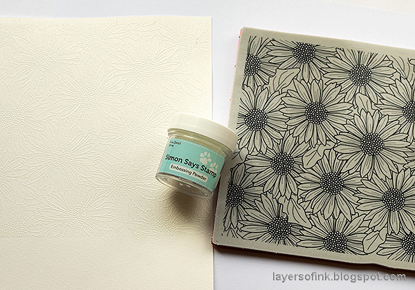 Layers of ink - Gerbera Daisy Watercolor Cards by Anna-Karin Evaldsson. White emboss the stamp.