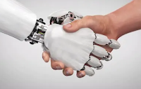 shaking hands, robot and human