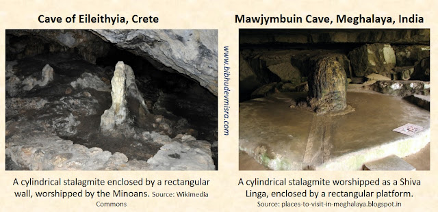 The worship of stalagmites inside cave sanctuaries in Crete and India.