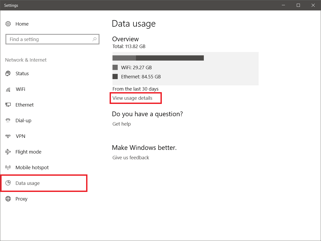 View Network Data Usage in Windows 10