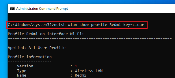 Know Wi-Fi password using Windows CMD
