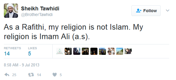 Imam Syiah Rafidah Shaikh M. Tawhidi  Menuliskan Ditwitter My Religion is not Islam, My religion is Imam Ali