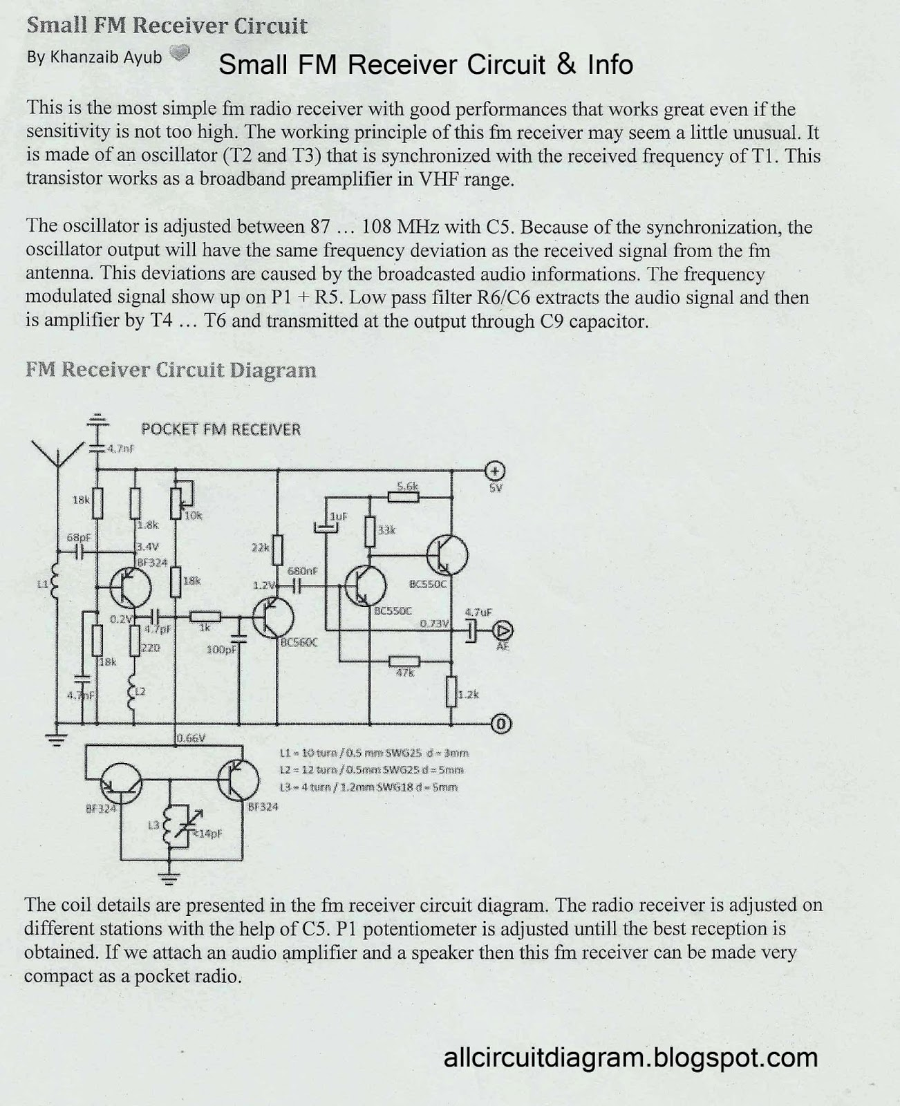 hight resolution of small fm receiver circuit