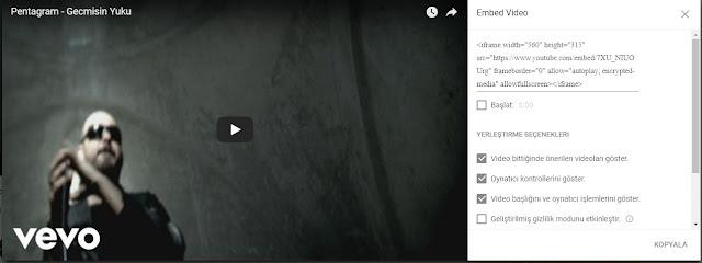 youtube embed kodlarını blogger'da kullan