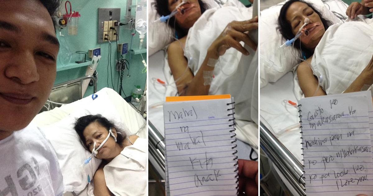 Loving mom in hospital uses notes to show love to her son