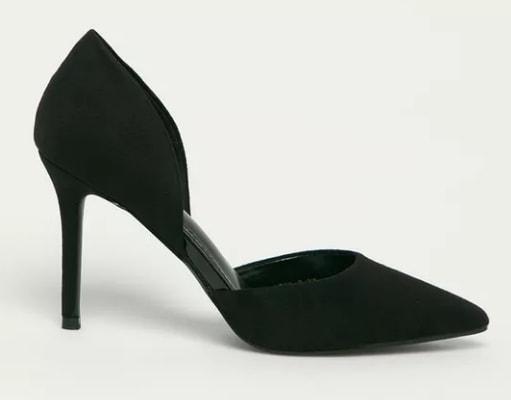 Answear Lab - Pantofi cu toc negri cu toc si decupaje