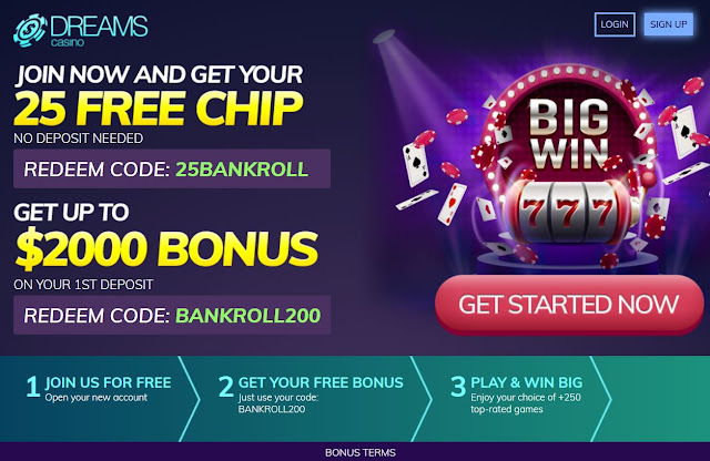 Dreams casino Welcome Offer - no deposit bonus included
