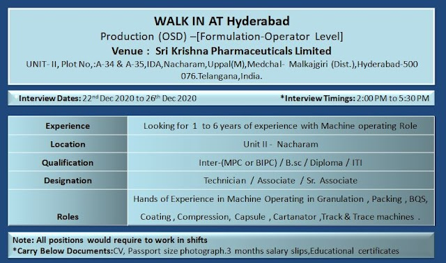 Sri Krishna Pharma | Walk-in interview for Production on 22nd to 26th Dec 2020