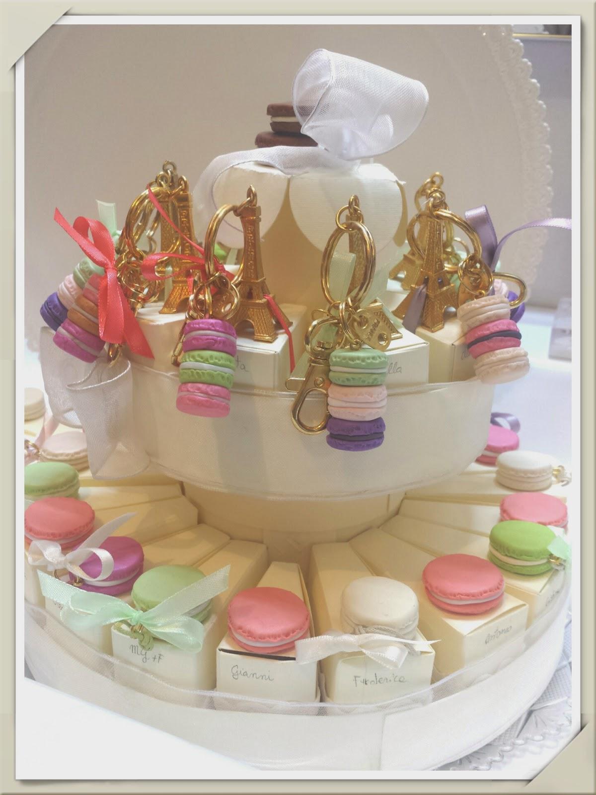 Torta di bomboniere Macarons in fimo