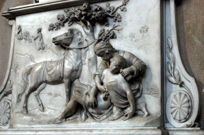 Bath Abbey, monument to Fletcher Partis died 1820, depicted as the Good Samaritan