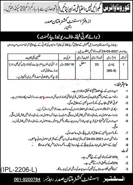 Patwari Jobs in Revenue Department Multan 2021 Assistant Commissioner Office Latest
