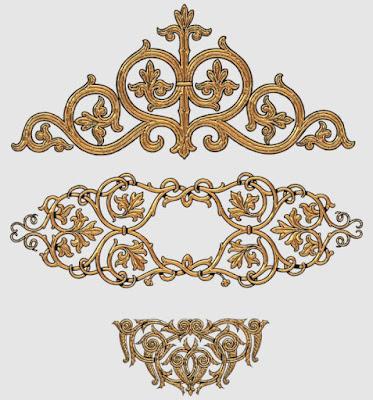 Gambar Dekoratif Pola Elemen Emas