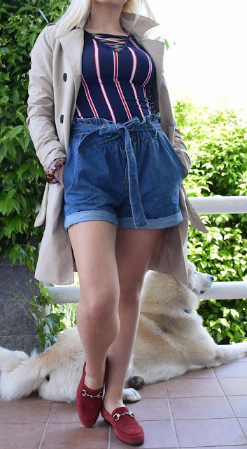 outfit shorts in denim come abbinare gli shorts in jeans  idee outfit primaverili outfit preppy preppy outfit come abbinare i pantaloncini in jeans mariafelicia magno fashion blogger colorblock by felym fashion blogger italiane blog di moda