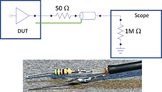 Source series termination of a coaxial cable is a low-cost alternative for probing low-voltage, high-bandwidth signals.