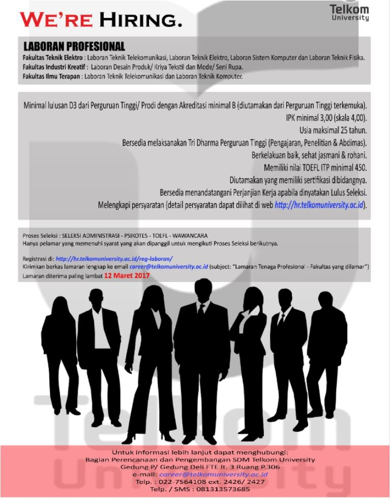 Lowongan Kerja Laboran Profesional Telkom University Bandung Maret 2017