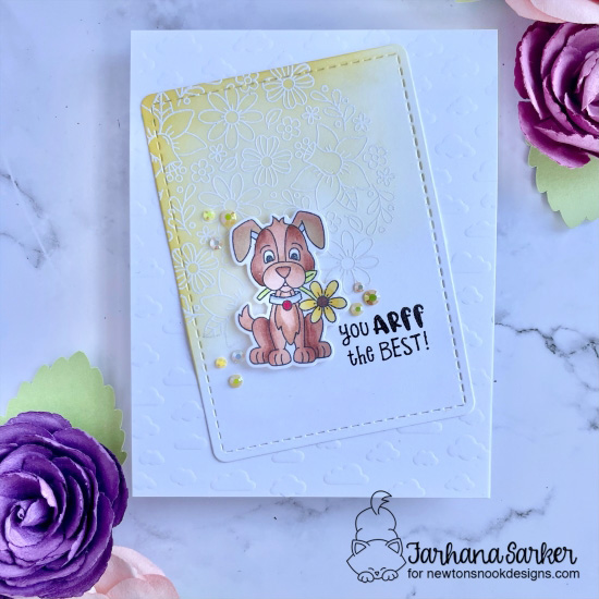 You Arff the Best Dog Card by Frahana Sarker | Puppy Friends Stamp Set, Petite Clouds Stencil, Frames & Flags Die Set and Floral Roundabout Stamp Set by Newton's Nook Designs #newtonsnook