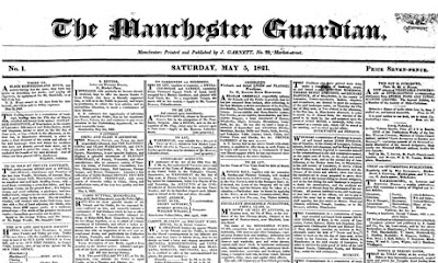 First edition of The Manchester Guardian