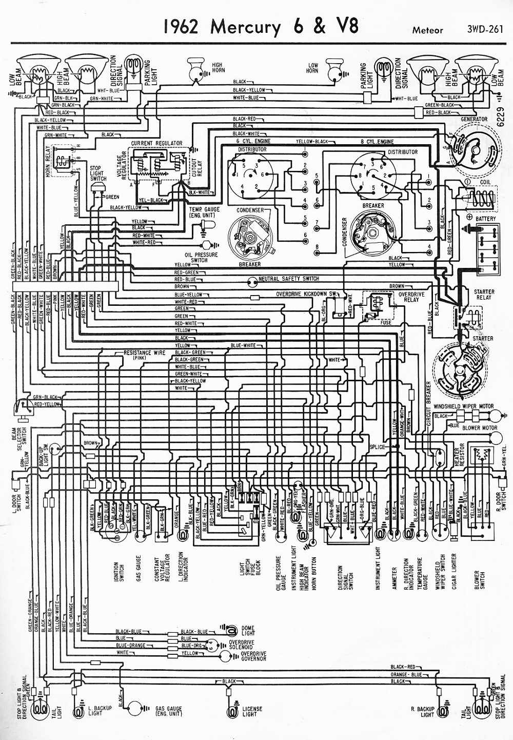 Proa: 1962 Mercury 6 and V8 Meteor Wiring Diagram