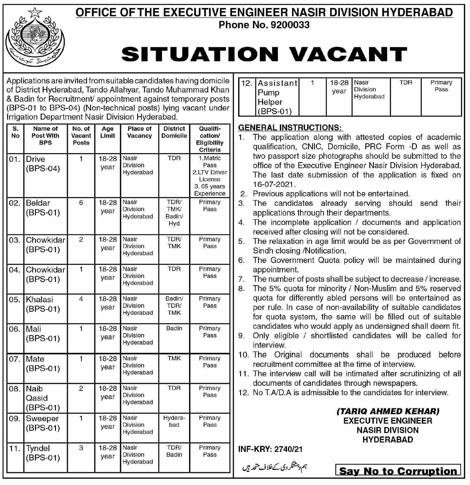 Executive Engineer Office NASIR Division Hyderabad Jobs 2021 in Pakistan