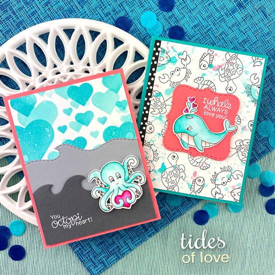 Octopus and Whale Cards by Jennifer Jackson | Tides of LoveStamp Set, Bokeh Hearts Stencil Set and Sea Borders Die Set by Newton's Nook Designs #newtonsnook #handmade