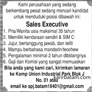 Lowongan Kerja Sales Executive (Ditutup 30 November 2017)