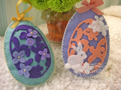 group of 2 Felt eggs