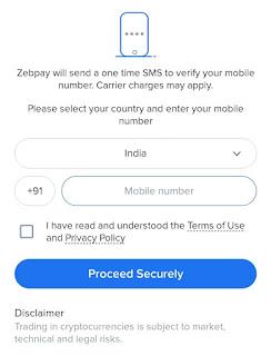 Zebpay app register
