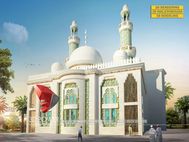 3d mosque design architectural rendering services for Mosque exterior design