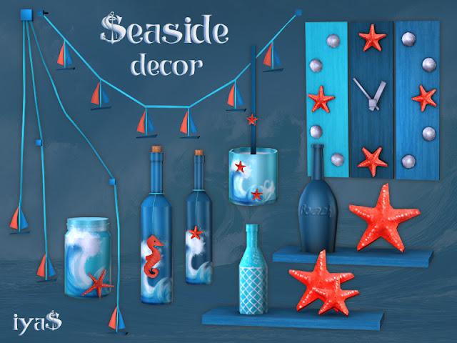 Seaside Decor Set Приморский декор для The Sims 4 Любой дом может быть пляжным, даже если вы не далеко от океана. Получите этот прибрежный декор, чтобы добавить немного морского солнца в ваш дом. В этом наборе 9 предметов.