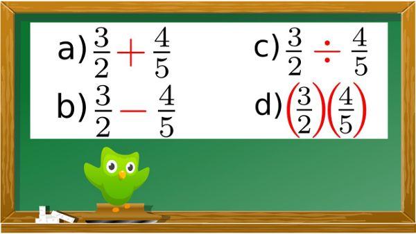 ▷ Suma, Resta,  Multiplicación y División  de  Fraccionarios