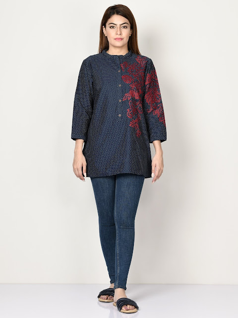 Limelight winter embroidered ready to wear navy blue kurti