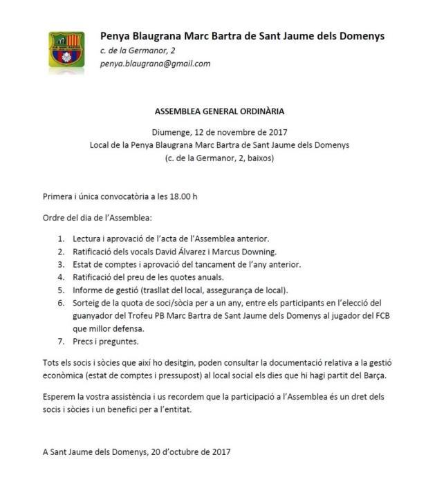 Esguard de Dona - Convocatòria Assemblea General Penya Blaugrana Marc Bartra de Sant Jaume dels Domenys any 2017