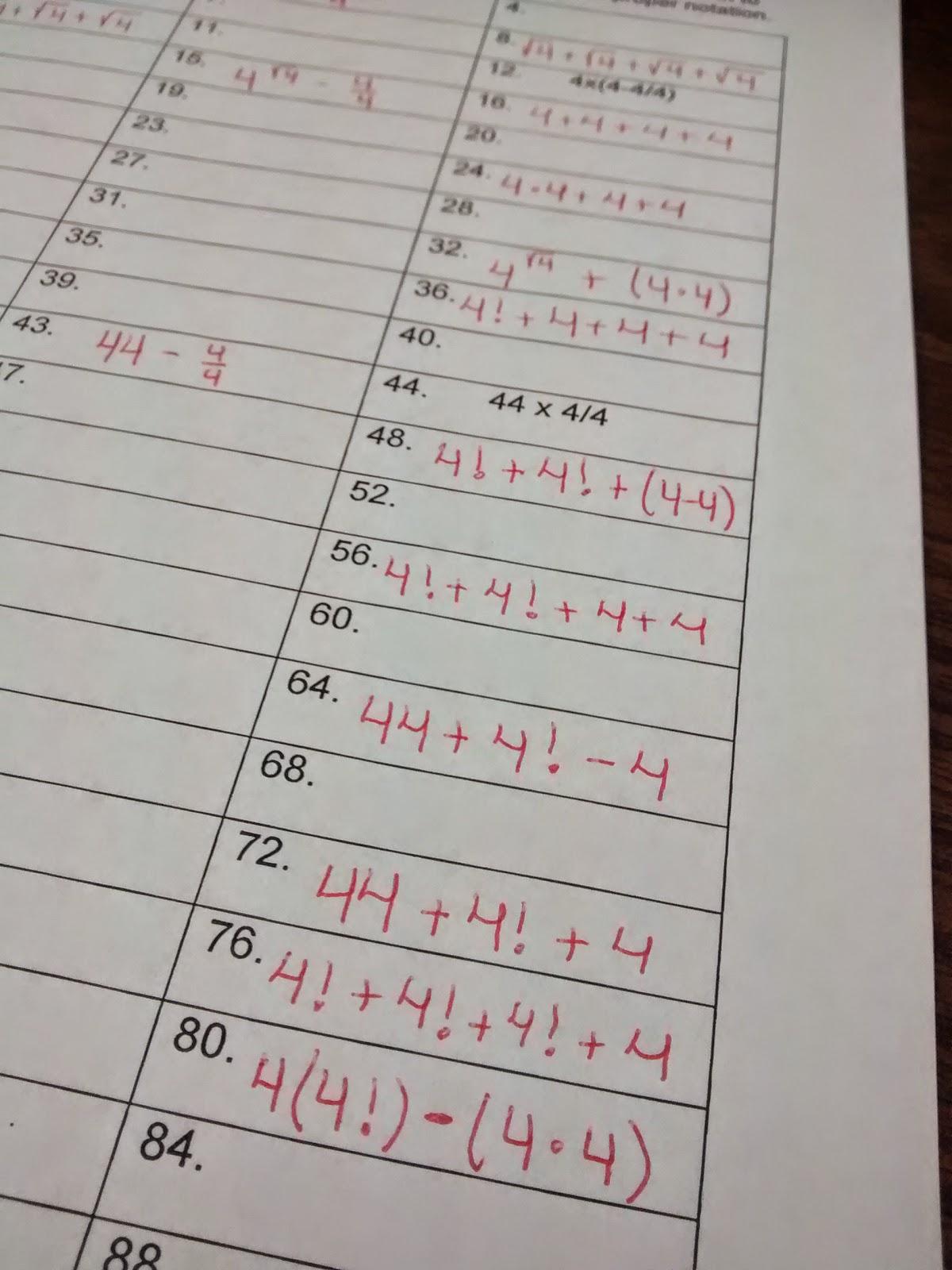 Math Love Four Fours Tons Of Fun