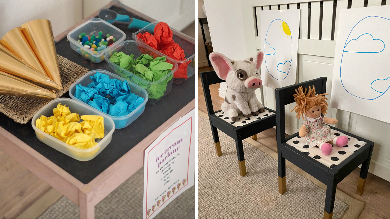 Dramatic play games activities to create at home for free. From play airports, to salons and vets, keep your kids or toddler amused
