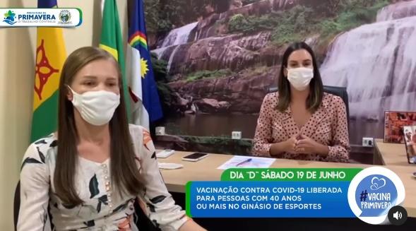 Dayse anuncia mutirão para vacinar pessoas acima de 40 anos contra a Covid-19 em Primavera