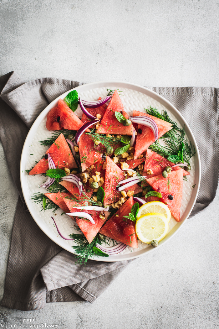 Vegan Watermelon Carpaccio Salad with Tahini
