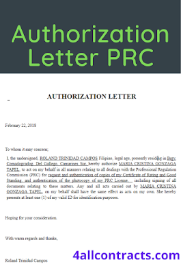 Authorization letter for prc board certificate