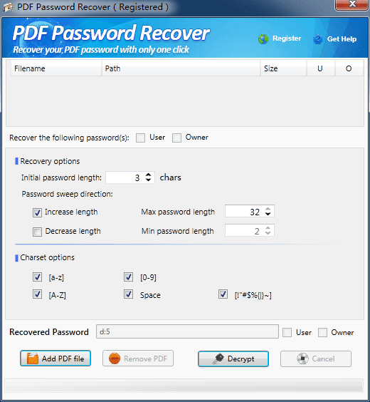 PDF Password Recover Key