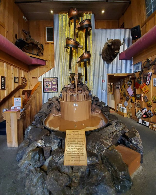 Alaska (Anrocridge) - a huge chocolate waterfall that is located in a chocolate factory