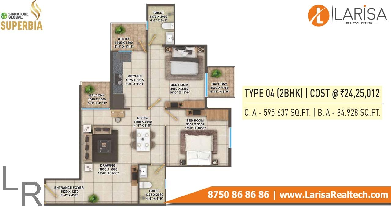 Signature Global Superbia Type-4 Floor Plan