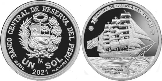 Peru 1 sol 2021 - Bicentenary of the Peruvian Navy