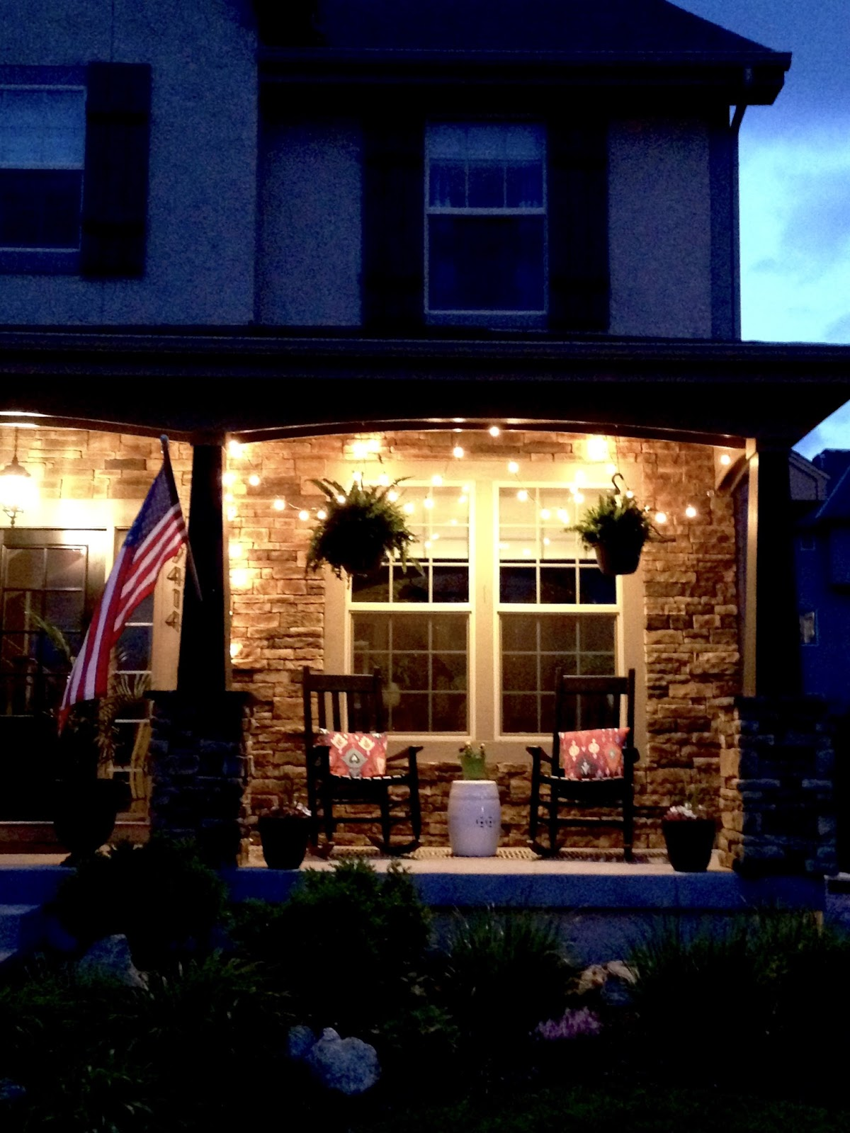 Life Love Larson String Lights on the Front Porch